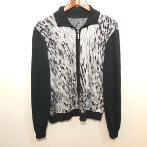 ST JOHN Animal Print Cardigan Sweater